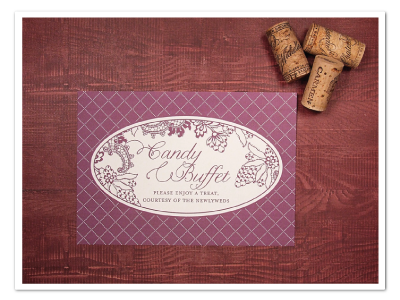 vintage winery grape theme printable candy buffet sign design