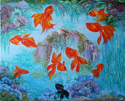 "Russian modern art abstract Painting ""9 Gold Fishes"" for Interior and feng shui.  Oil on canvas, palette knife. Size original painting 11.8"" x 15.7"" x 0.7"" (30sm x 40sm x 1.8sm). In China, the fish has always been considered a symbol of abundance, because the word ""fish"" in Chinese and the word ""abundance"" are equal in importance. According to feng shui Number ""9"" symbolizes the harmony between heaven and earth,   therefore  necessary to  have in an aquarium eight gold Fishes (red) and one black fish. This combination will provide you with prosperity, happiness and comfort in your life, as well as provide protection for your home, you and your family from loss and betrayal! This original Painting  available in a variety of printed styles at  http://painting.artistwebsites.com/"