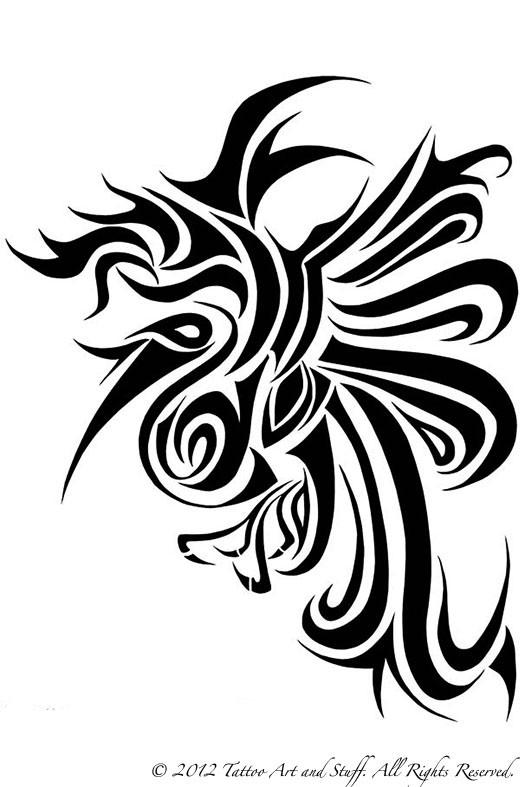 Phoenix Tattoo Black and White