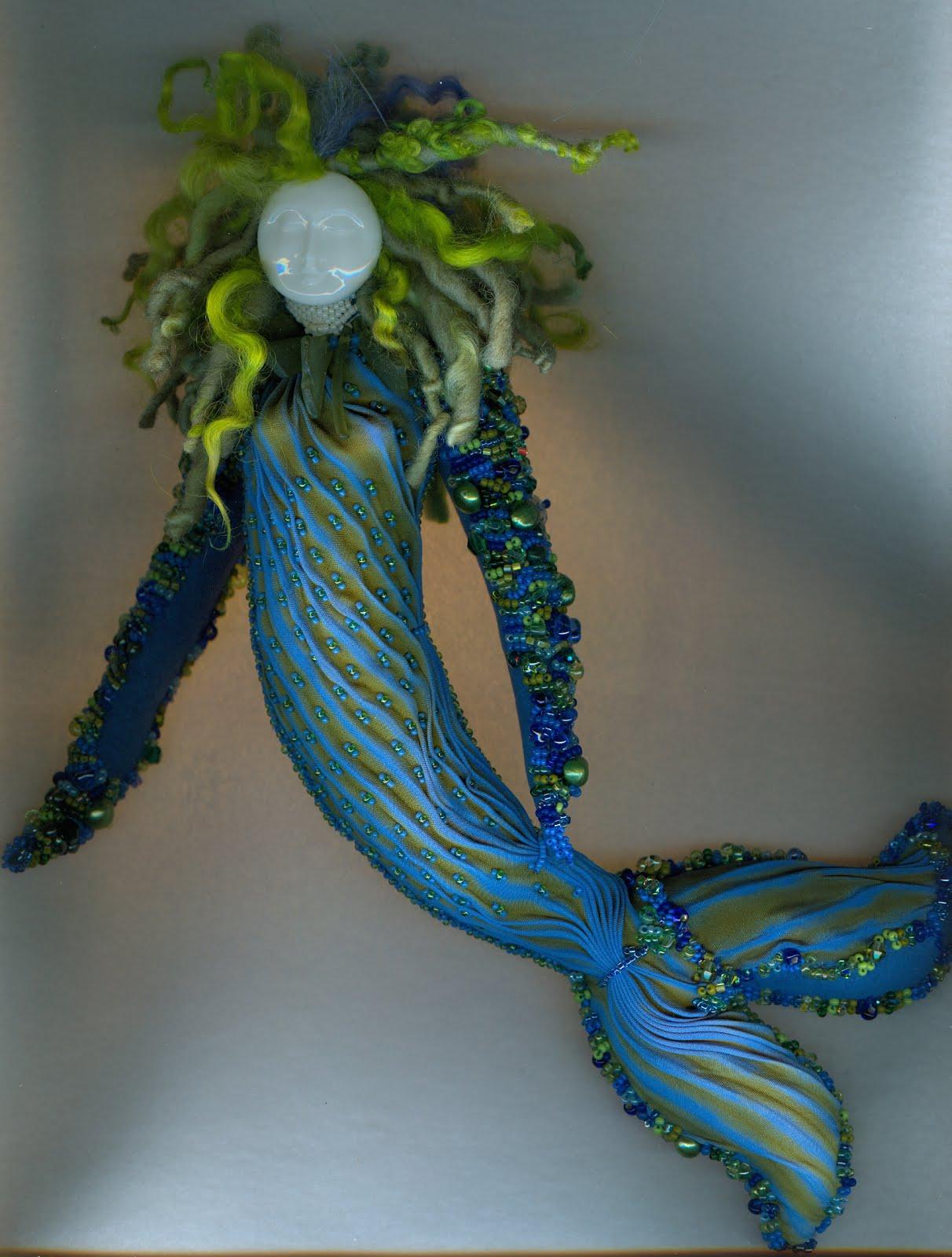 2018 blue green mermaid wool hair front view