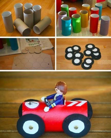 carrinhos feitos de rolo de papel higiênico reciclado