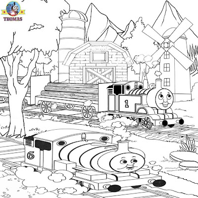 Online free printable art woodland mill Misty Island rescue Thomas and Percy coloring pages to color