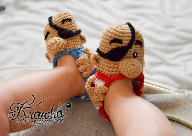Krawka: Baby booties - Pirates, Free crochet pattern