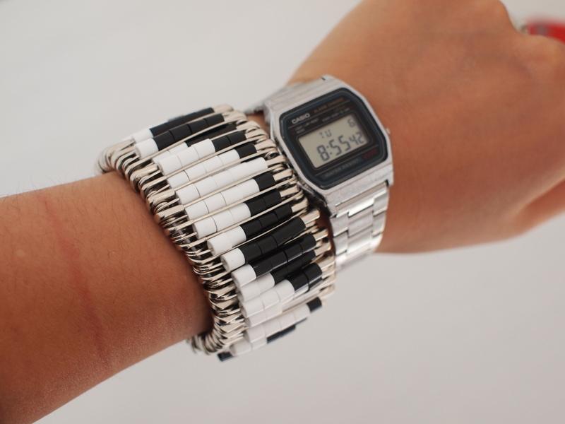 Perler Bead Safety Pin Bracelet