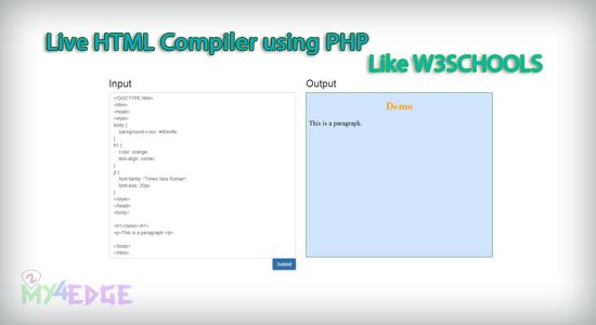 Live HTML Compiler using PHP like W3schools tryit editor   2my4edge
