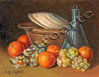 Bodegón con cacharra de aceite, naranjas, uvas y cuenco tapando cazuela de barro