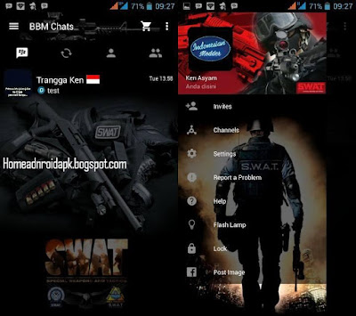 Finally Mod Blackberry Messenger application to the topic of this script has been acquaint Download BBM Mod Thema S.W.A.T V2.10.0.35 Clone Simple Latest