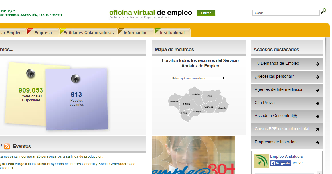 Cv en la oficina virtual de empleo de andalucia for Oficina virtual trabajo