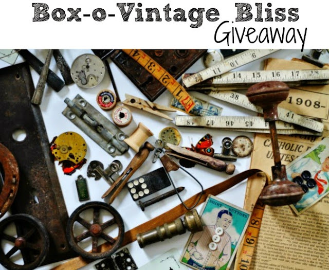 Rusty Salvage Giveaway with doorknob, tape measure rusty wheels, vintage clothespins, antique stamps rusty springs vintage buttons, rusty hinges, watch gears, antique book pages and more from knickoftimeinteriors.blogspot.com
