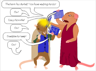 "Image: Jane beats Frank with a book while saying, ""The term has started! You have readings to do!""  ""Ow!""  ""Essays to write!""  ""Ow!""  ""Duedates to keep!  ""Ow!"""