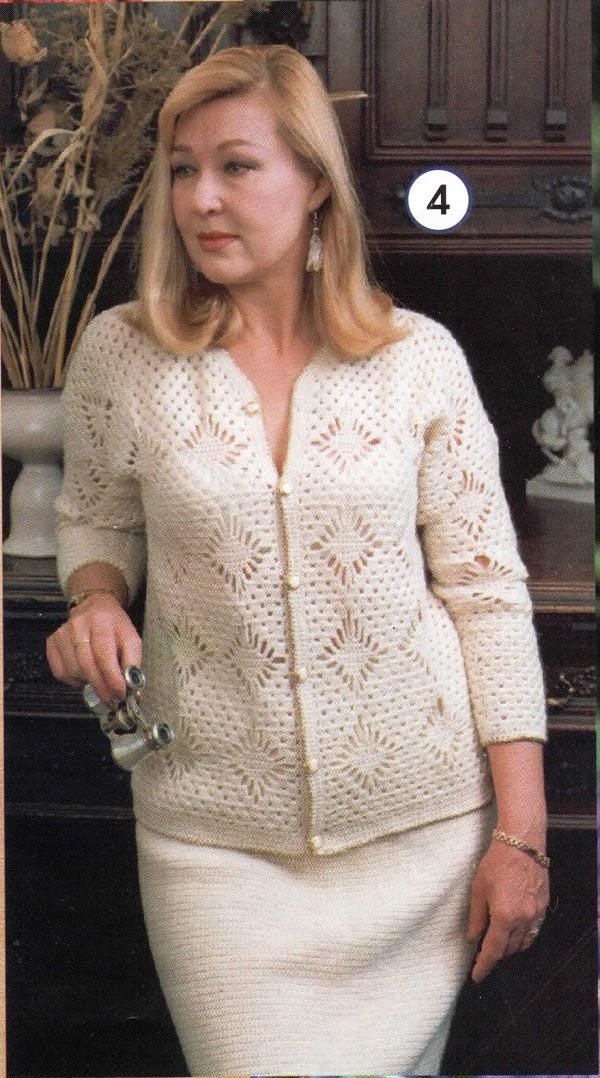 Cardigan blanco al crochet con rombos