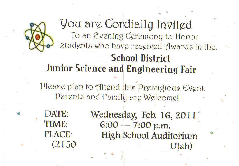 Invitation cards for science exhibition 28 images science my family ry s 6th grade science fair project stopboris Gallery