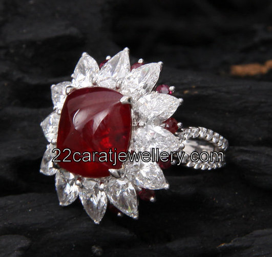 Square Ruby and Diamond Ring Jewellery Designs