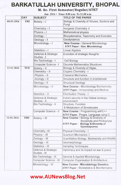 Barkatullah University PG Exam Time Table 2016 - aunewsblog