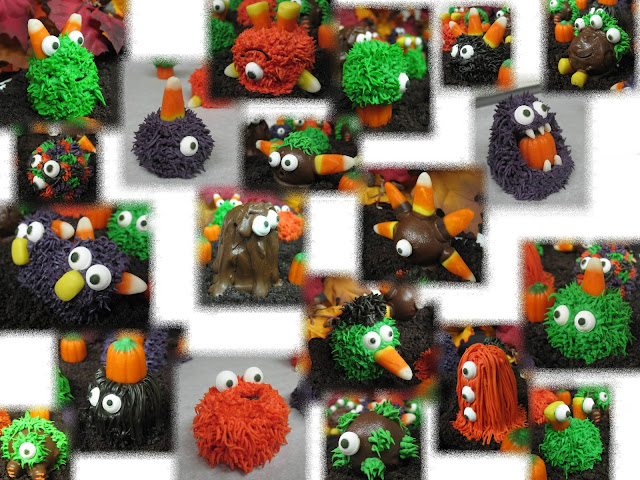 Halloween Little Monster Cake Balls - Individual Close-Up Angled View Collage