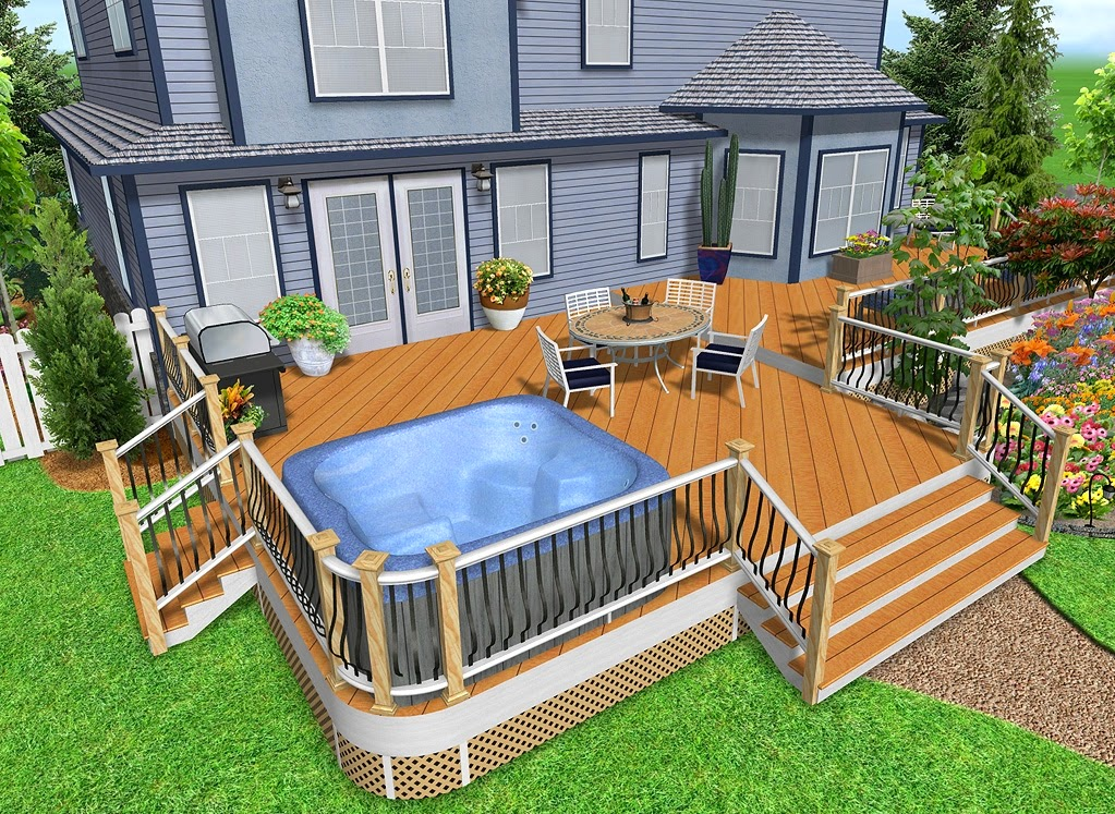 Hot tub deck design ideas for Deck house designs