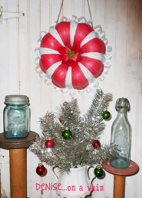 A Christmas wreath from a bundt pan and some fun vintage treasures to decorate via http://deniseonawhim.blogspot.com