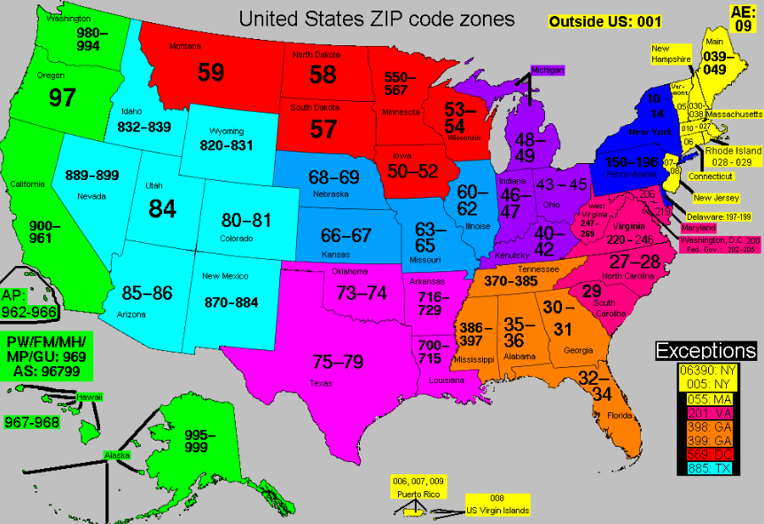 Zip Code Map Of The Us Globalinterco - Zip code map of us