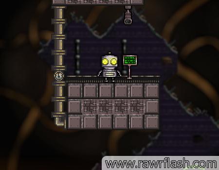 Jogo de plataforma em um mundo completamente feito de máquinas. Guie este robô apertando os botões vermelhos e passando dos puzzles.