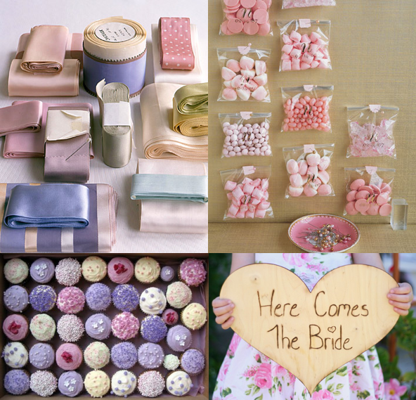 Colors Lilac Pale Pink Cream Textures Silk Ribbons sweet candies