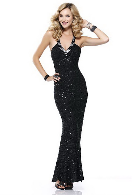 Long Black Sequined Prom Dresses