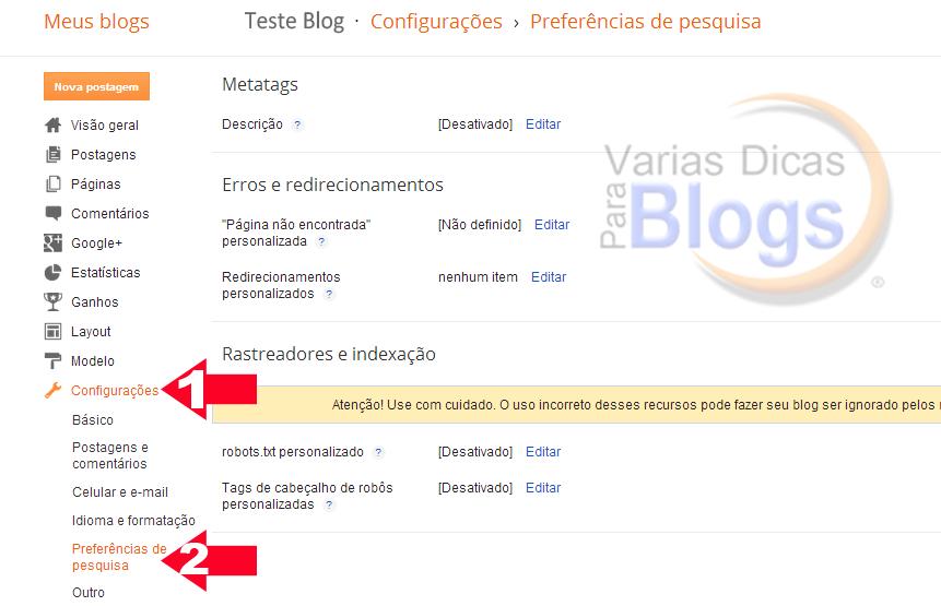 Meta Tag Descrição de pesquisa de postagem