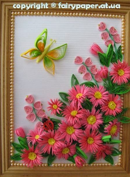 Diy quilling flower framed wall art the idea king for How to make a flower wall hanging