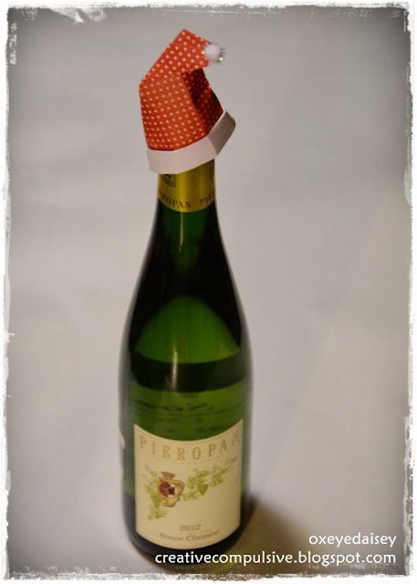 Santa's Hat origami Holiday wine bottle