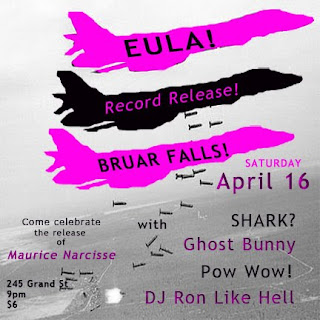 EULA Plays Record Release Show at Bruar Falls on Saturday, April 16th