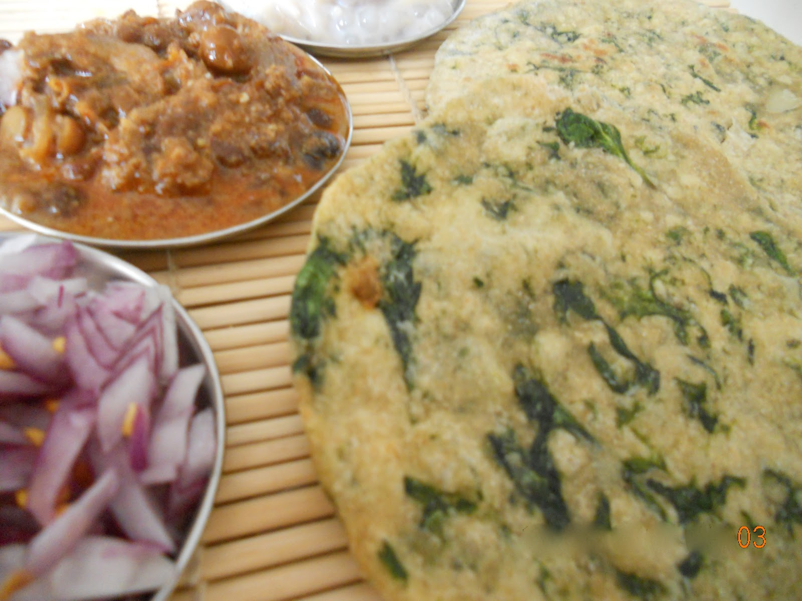 indian flat breads palak chapathi spinach and garlic flat bread