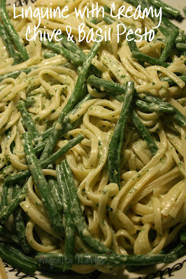 linguine, cream, chives, basil, pesto, homemade pesto, green beans, garlic chives
