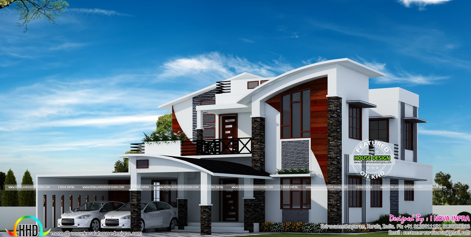 Contemporary model curved roof house kerala home design for Model house design 2016