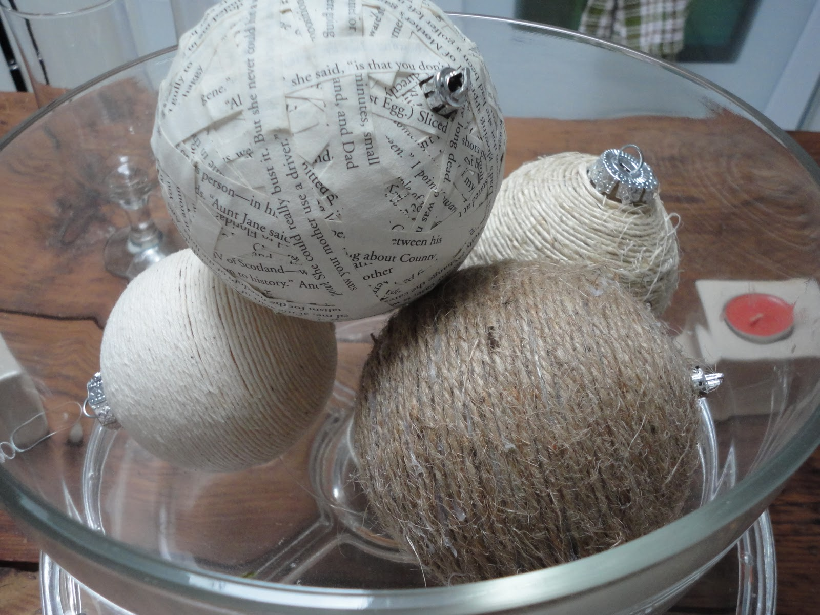 Paper mache ornaments -  Paper Into The Glue Mixture And Place On Your Ball Ornament Let Dry Overnight And There You Have It Very Fun Cheap And An Unique Way To Update A