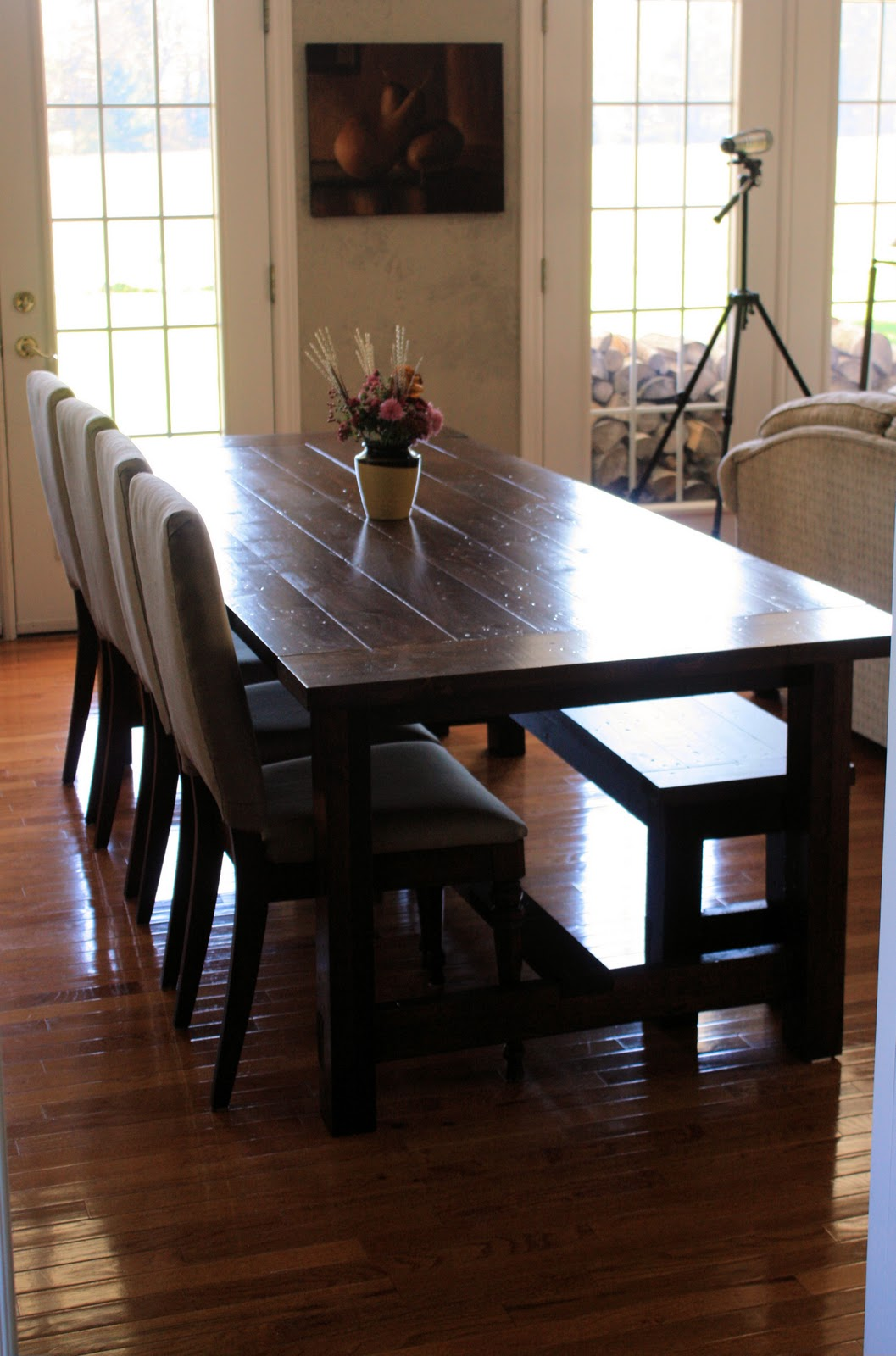 Landlocked farmhouse dining table and bench for Breakfast table plans