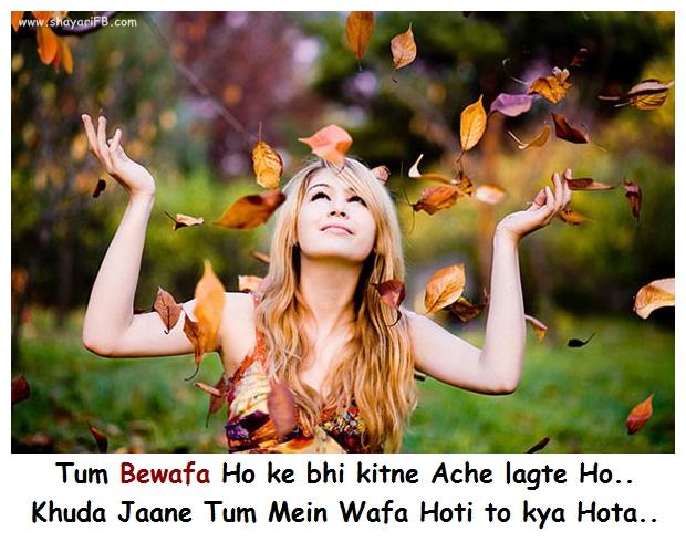 sad shayari : Tum Bewafa Ho ke bhi kitne Ache lagte Ho.. Khuda Jaane Tum Mein Wafa Hoti to kya Hota..