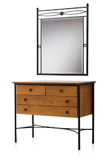 comoda con espejo forja y madera
