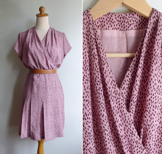 vintage gathered brushstroke dot dress