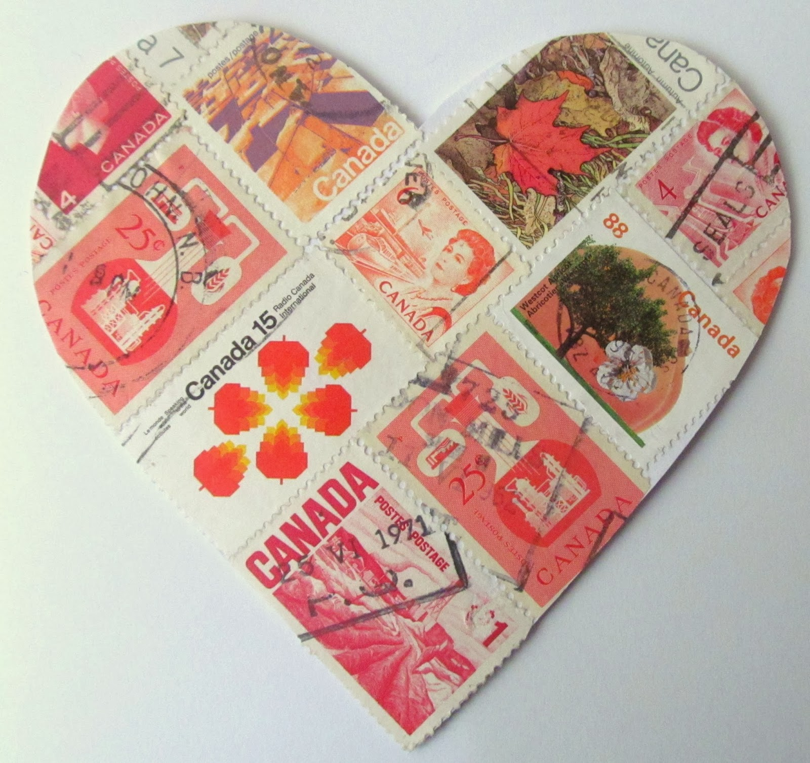 quick valentine cards to make - postage stamps