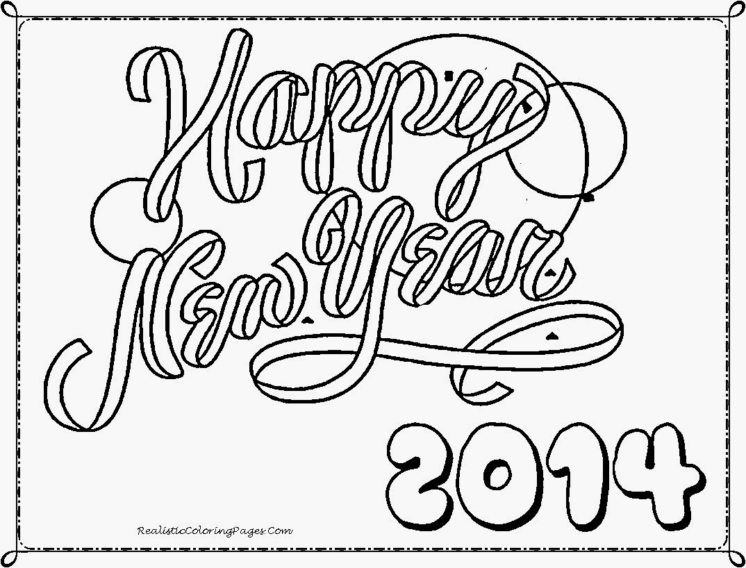Happy New Year 2014 Coloring Pages Realistic Coloring Pages Free New Years Coloring Pages