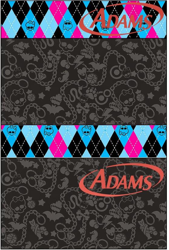 Etiquetas Adams de Monster High Negro para imprimir gratis.
