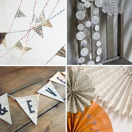 decora tus paredes con banderines de papel reciclado