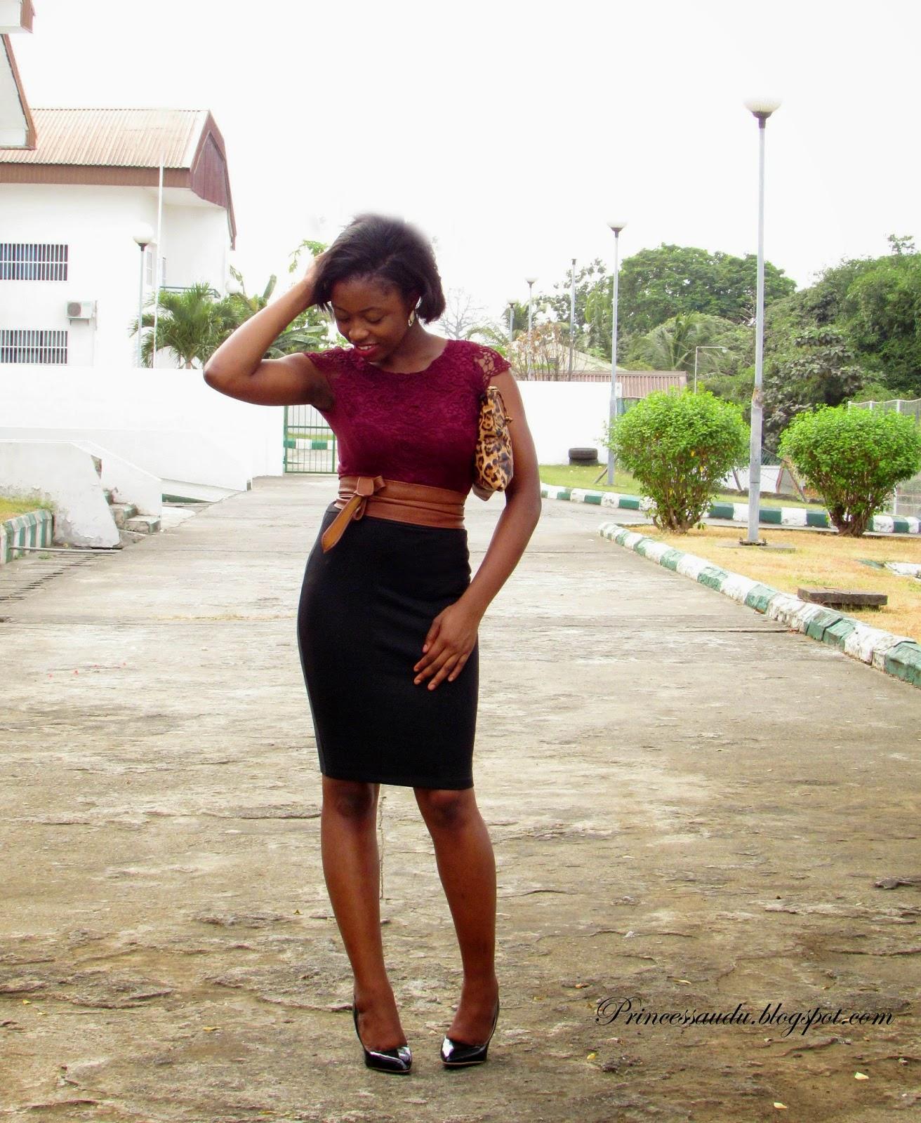 Lace blouse, burgundy, belt, brown, statement belt, leopard print purse, back pencil skirt, closet essential, black pointed pumps