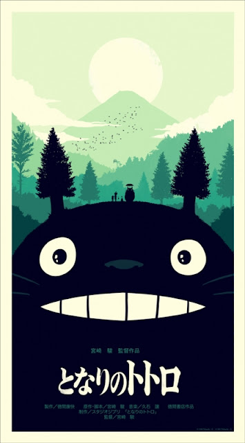 My Neighbor Totoro Green Variant Screen Print by Olly Moss