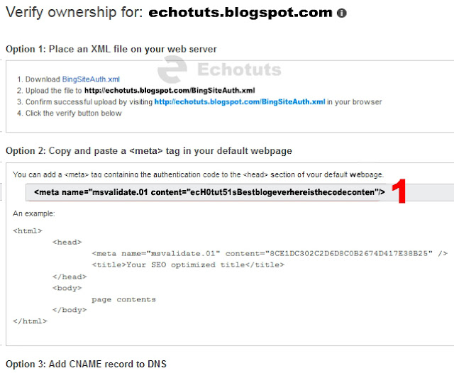code verification bing webmaster tool tutorial - echotuts