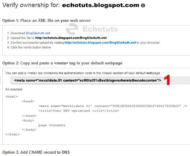 code verification bing webmaster tool tutorial - echotuts