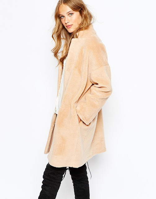 suncoo fur coat, peach fur coat, shearling fur coat,