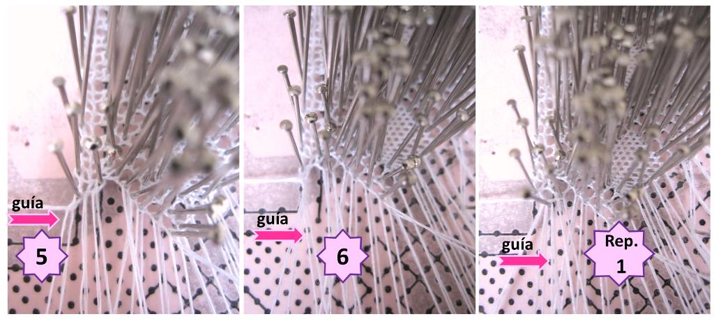 foto de pasos 5, 6 y repetir el 1 del tutorial de encaje de bolillos: pie de tres pares de bolillos