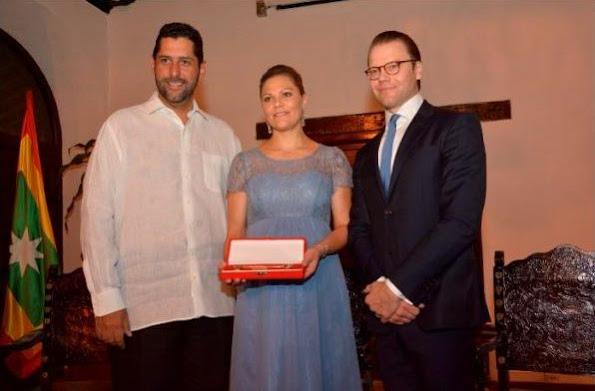 Crown Princess Victoria and Prince Daniel attend a reception hosted by the Mayor of Cartagena in Colombia