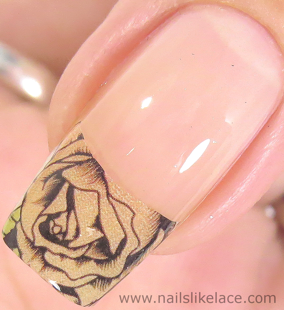 NailsLikeLace: Peach Rose Decals & Metallic Gold Accent