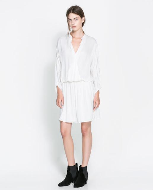 kemerli bol kesim kısa beyaz elbise